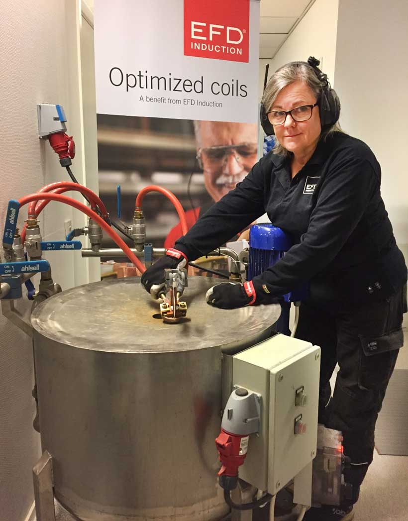 When devising an induction heating solution, testing the coil critical to ensure it will work as expected. Coppersmith Inger Henriksson is performing meticolous tests to see that it works to perfection.