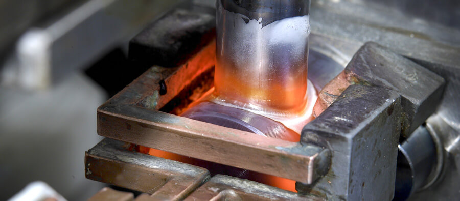 Induction heating is a perfect method for high throughput  brazing of evaporator and condenser connections.