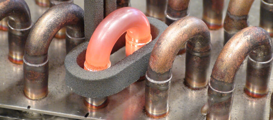 Brazing of a heat exchanger with induction heating