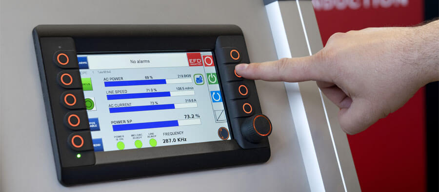 CONTROL PANEL: Operation of the Compact Weldac is via an easy-to-use control panel with recipes that will guide the operator to the correct settings.